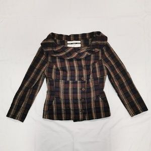 Topshop | Plaid Wide Neck Cropped Jacket